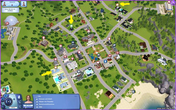 The sims 3 map